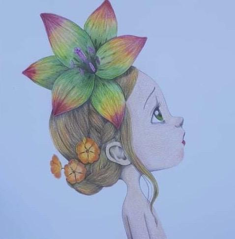 Coloriage aux crayons de couleurs de Deborah